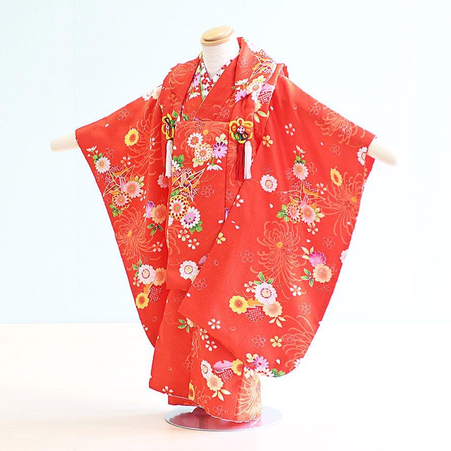 七五三着物三歳被布レンタルセット(3-19)赤/花・折り鶴