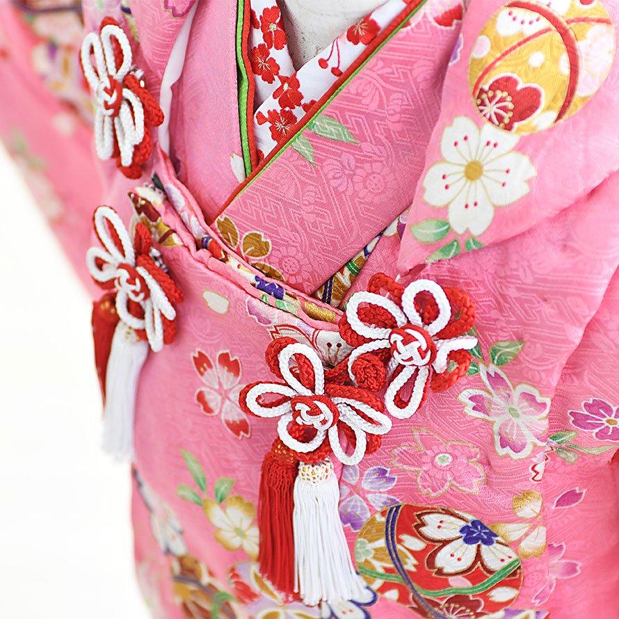 七五三着物三歳被布レンタルセット(3-25)ピンク/桜・まり 正絹