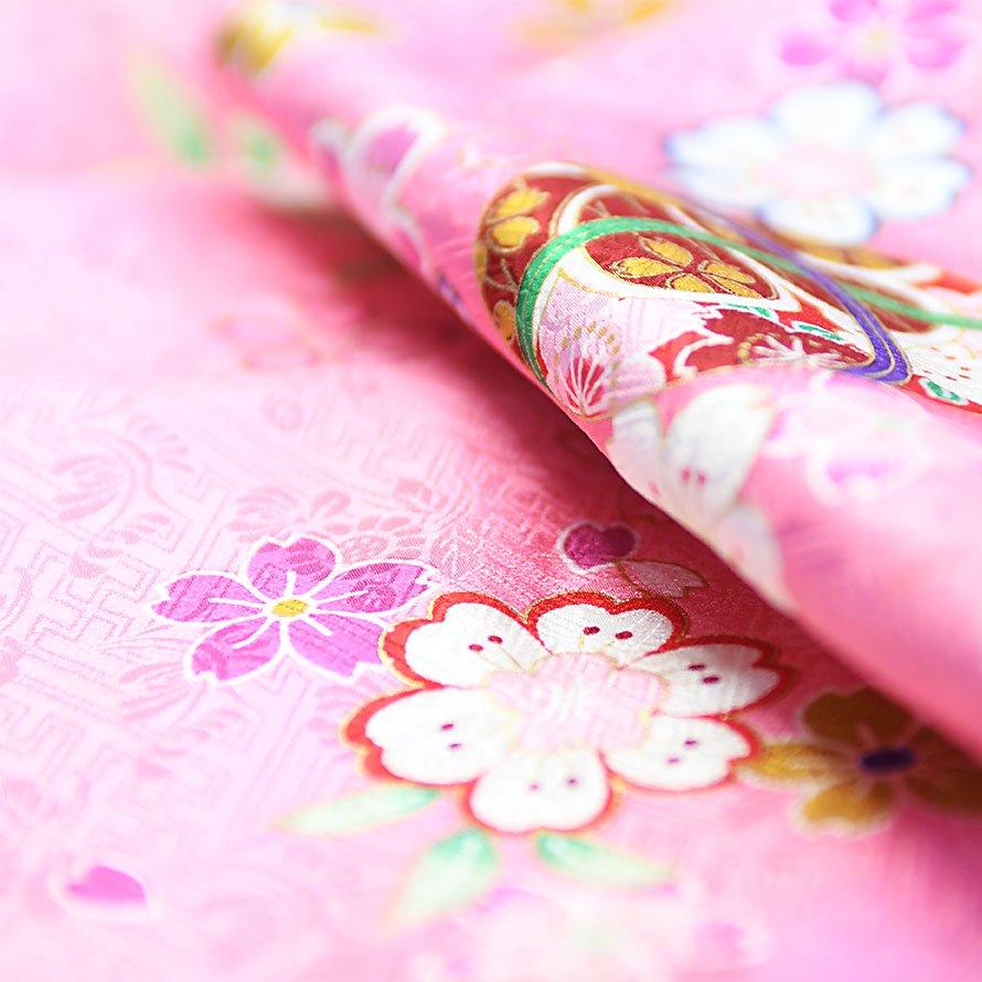七五三着物三歳女の子レンタル(3-25)ピンク/桜・まり 正絹