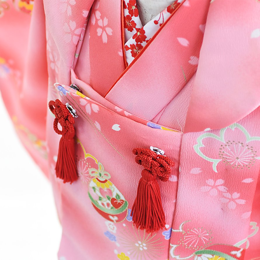七五三着物三歳被布レンタルセット(3-21)ピンク/花・鈴