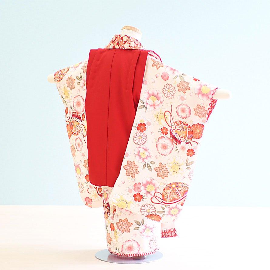 七五三着物三歳女の子レンタル(3-30)白・赤/花・まり 花夢二