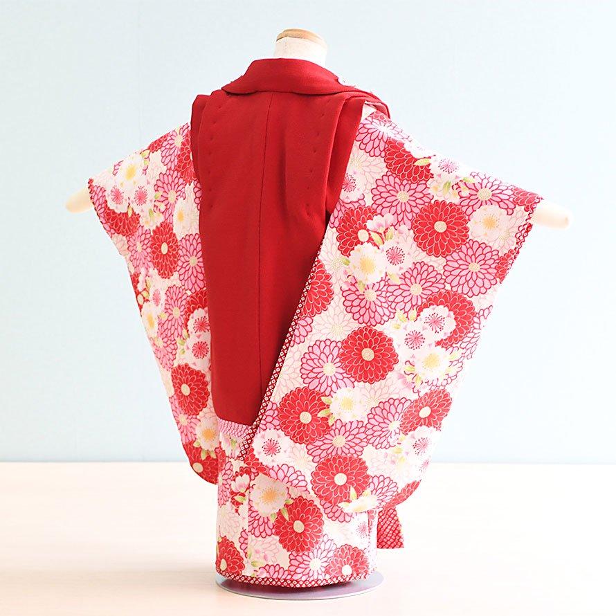 七五三着物三歳女の子レンタル(3-16)赤・クリーム/菊・うさぎ ジャパンスタイル