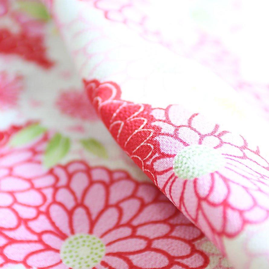 七五三着物三歳被布レンタルセット(3-16)赤×赤/菊・うさぎ ジャパンスタイル