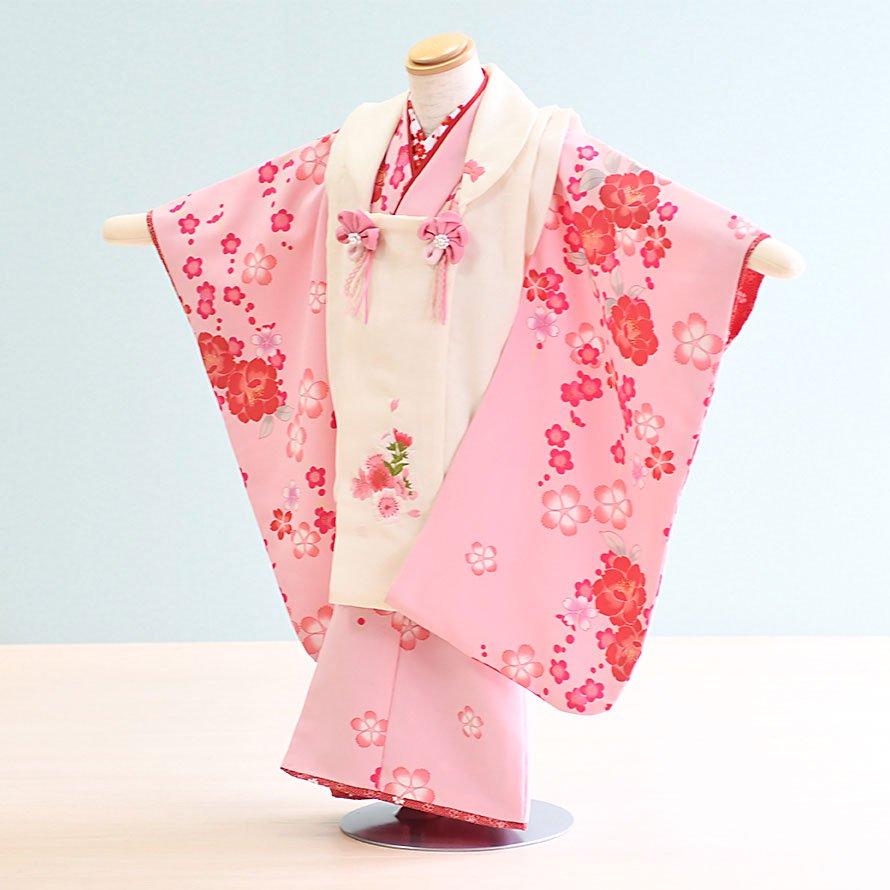 七五三着物三歳被布レンタルセット(3-34)ピンク・白/花 ひさかたろまん みに