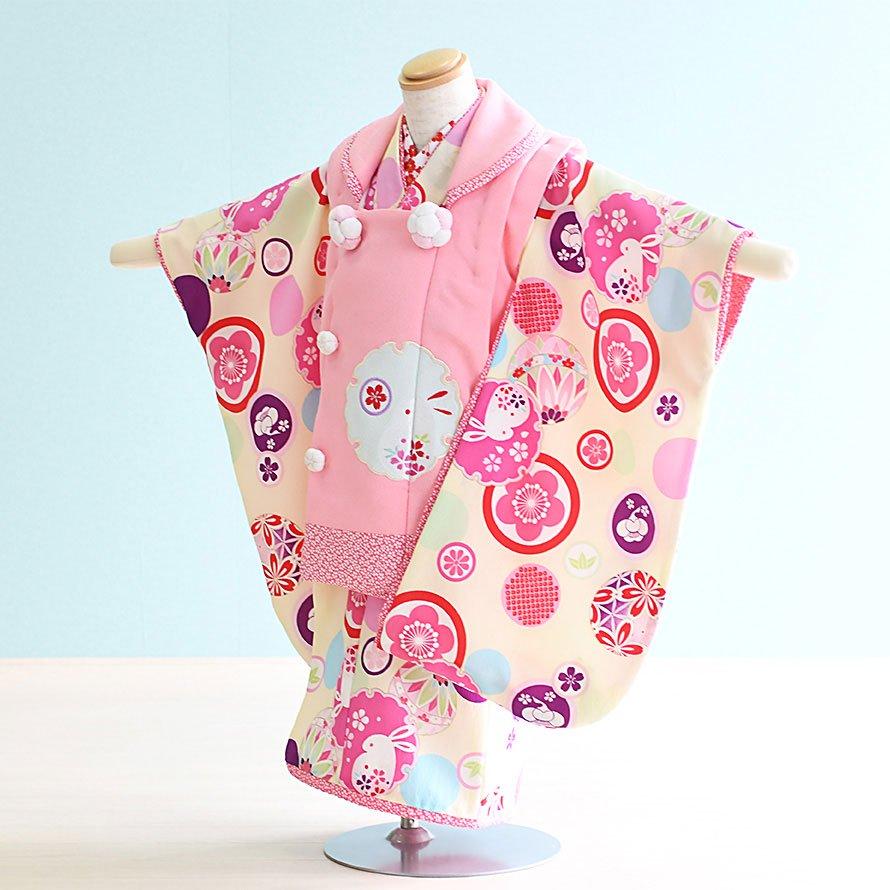 七五三着物三歳被布レンタルセット(3-38)薄いクリーム×ピンク/花 乙葉