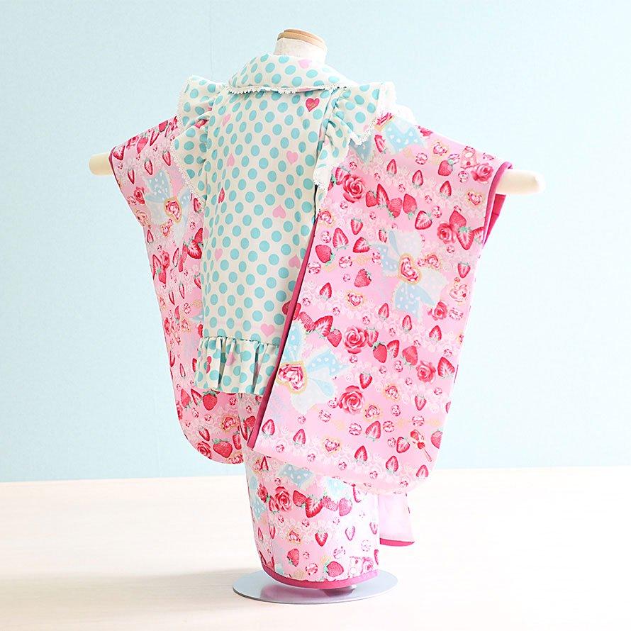 七五三着物三歳被布レンタルセット(3-40)ピンク・水色/苺・水玉・フリル メゾピアノ