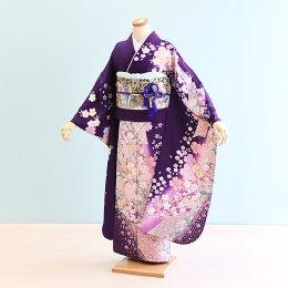 結婚式振袖レンタル(17-028)紫/桜・熨斗・古典