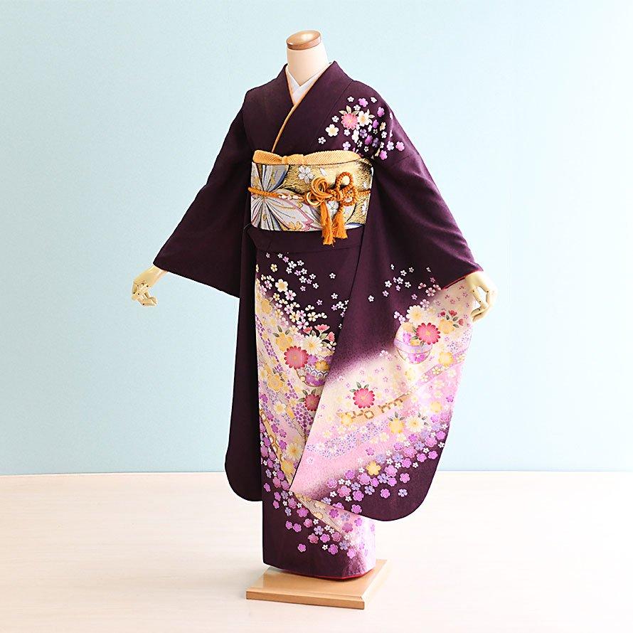 結婚式・結納式振袖レンタルフルセット(18-045)茶・あずき/花・古典