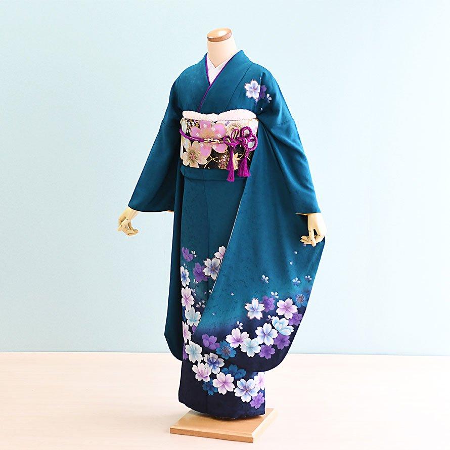 激安格安 結婚式・結納式振袖レンタルフルセット(19-068)緑/花柄・桜|振袖着物