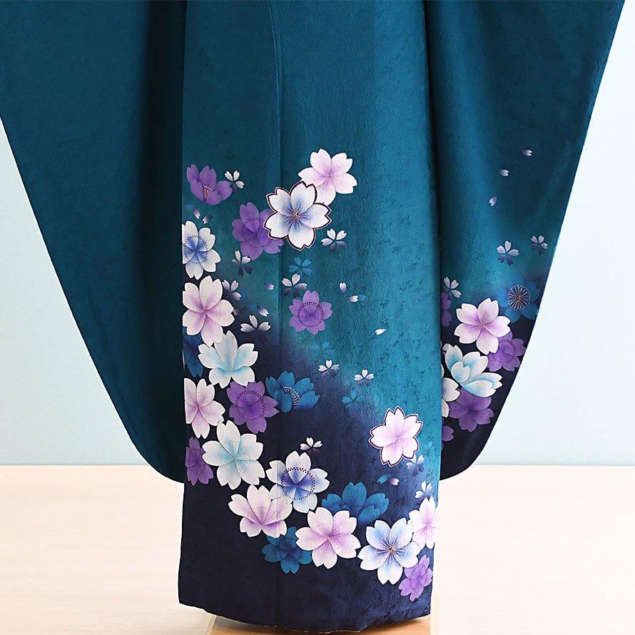 結婚式・結納式振袖レンタルフルセット(19-068)緑/花柄・桜