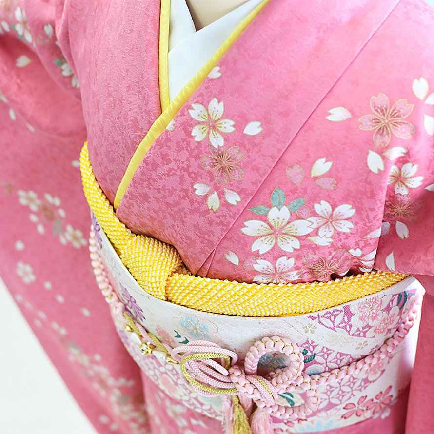 結婚式・結納式振袖レンタルフルセット(19-072)ピンク/花柄・桜