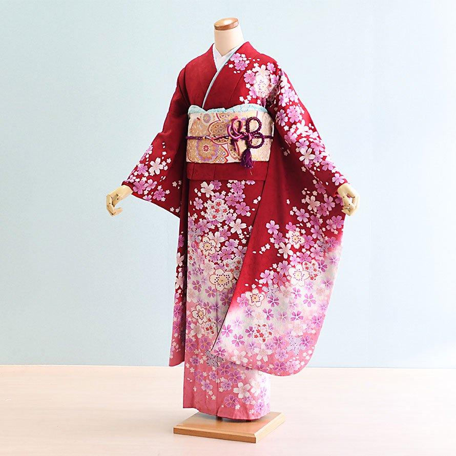 結婚式・結納式振袖レンタルフルセット(22-165)赤/花柄・花