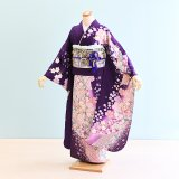 成人式振袖レンタル(17-028)紫/桜・熨斗・古典