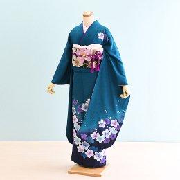成人式振袖レンタル(19-068)緑/花柄・桜
