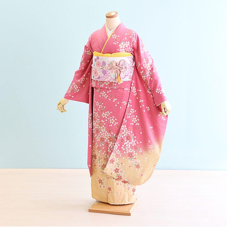 成人式振袖レンタルフルセット(19-072)ピンク/花柄・桜