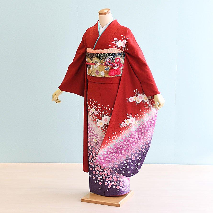 成人式振袖レンタルフルセット(19-074)赤/花柄・花