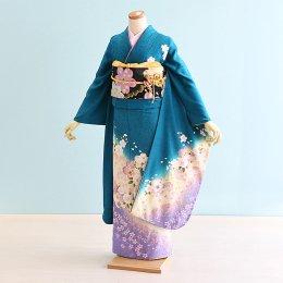 成人式振袖レンタル(19-077)緑/花柄・桜