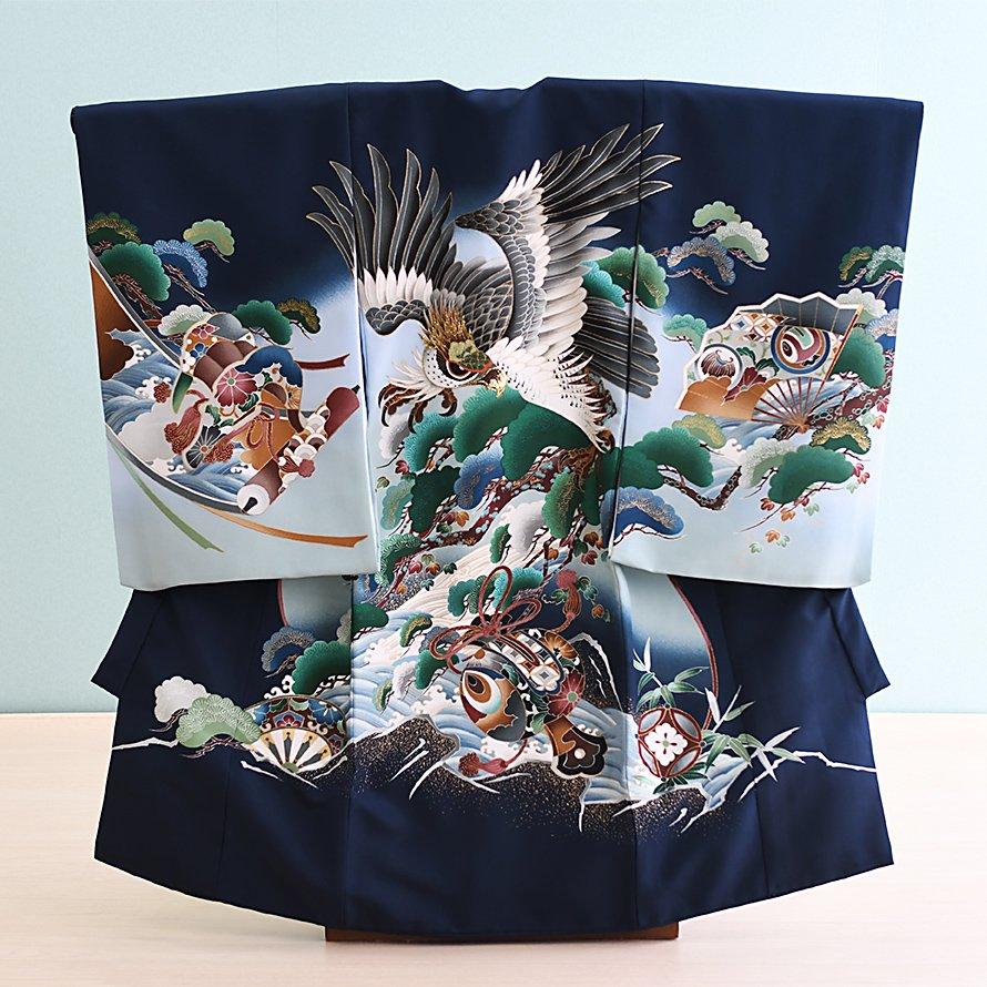 激安格安 お宮参り・初着レンタル 男の子用(OM-8)紺/鷹・松|産着・のしめ・祝い着・着物