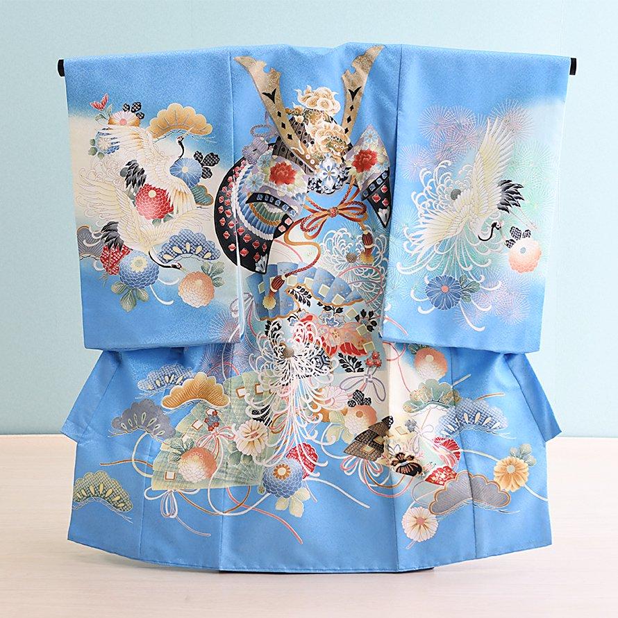 激安格安 お宮参り・初着レンタル 男の子用(OM-9)水色/かぶと・花|産着・のしめ・祝い着