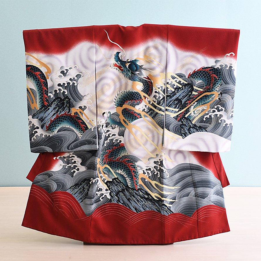 激安格安 お宮参り・初着レンタル 男の子用(OM-10)エンジ/龍|産着・のしめ・祝い着・着物