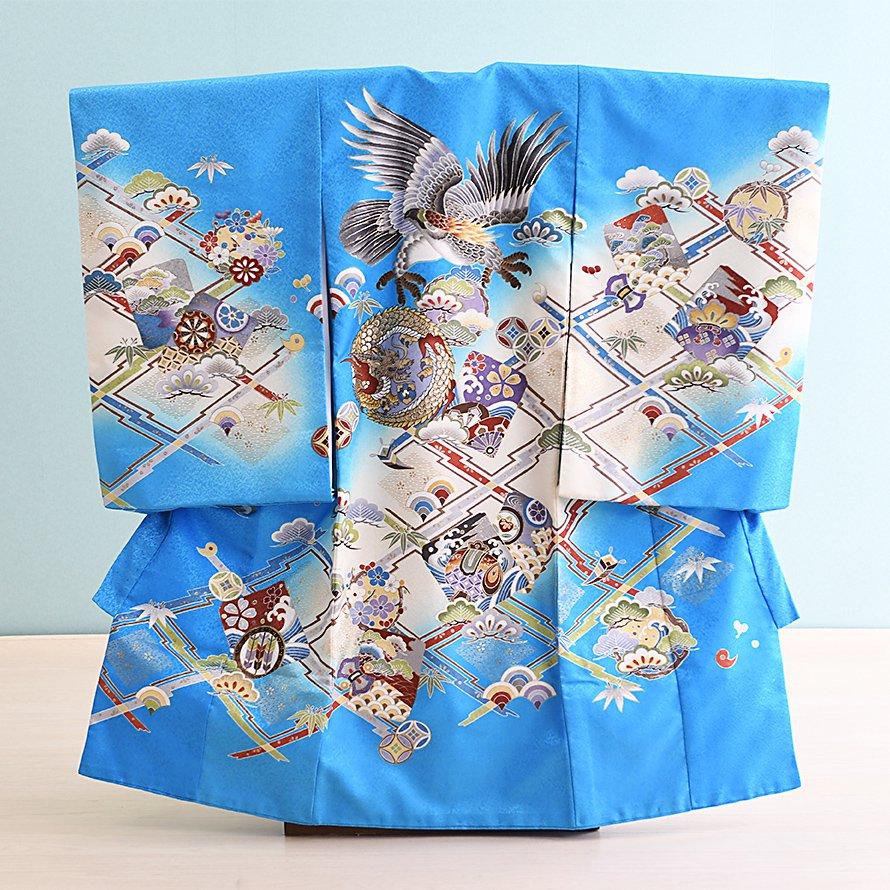 激安格安 お宮参り・初着レンタル 男の子用(OM-11)水色/鷹|産着・のしめ・祝い着・着物