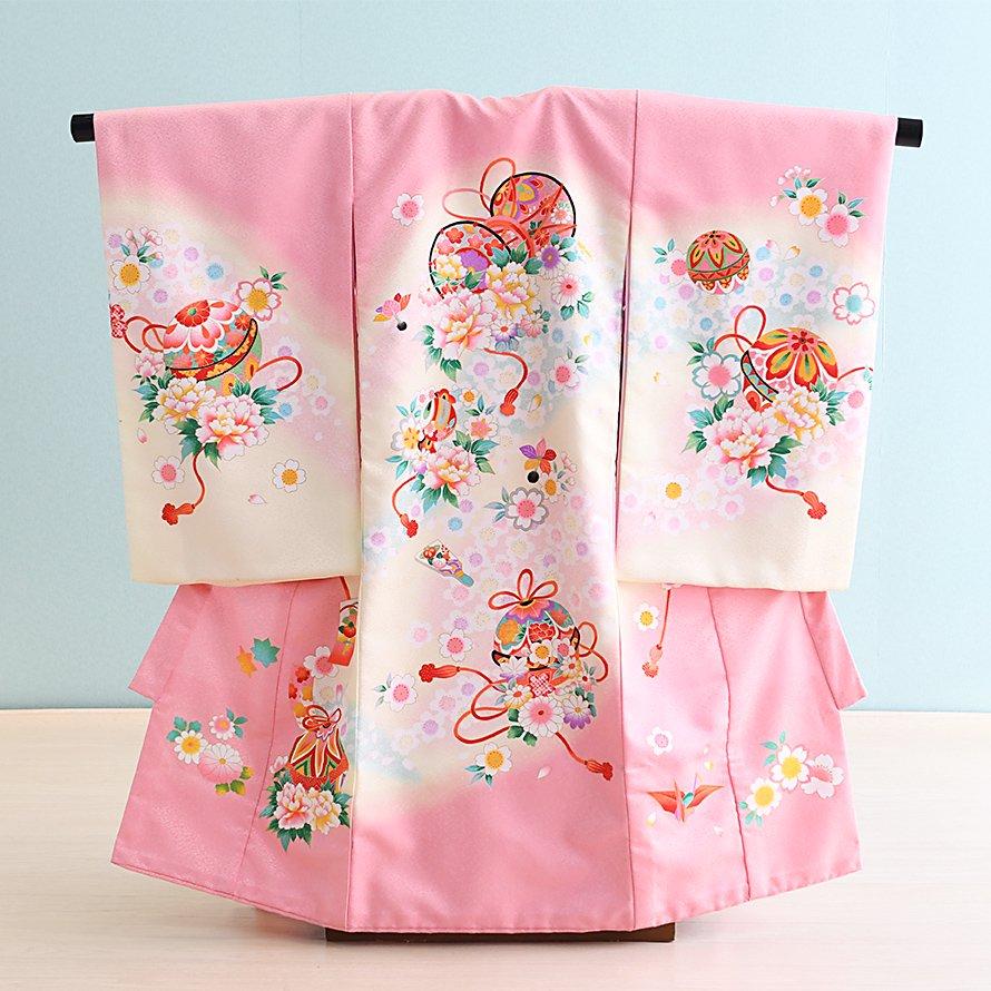 激安格安 お宮参り・初着レンタル 女の子用(O-4)ピンク/鞠・鼓|産着・のしめ・祝い着・着物