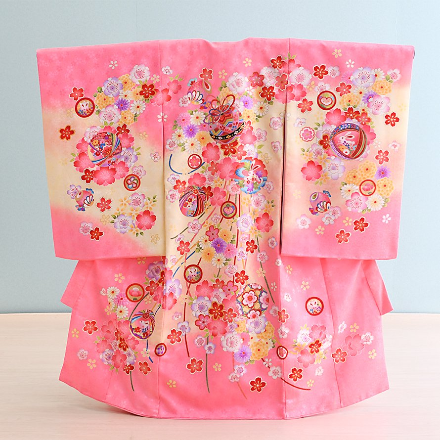激安格安 お宮参り・初着レンタル 女の子用(O-7)ピンク/桜・梅・鞠|産着・のしめ・祝い着