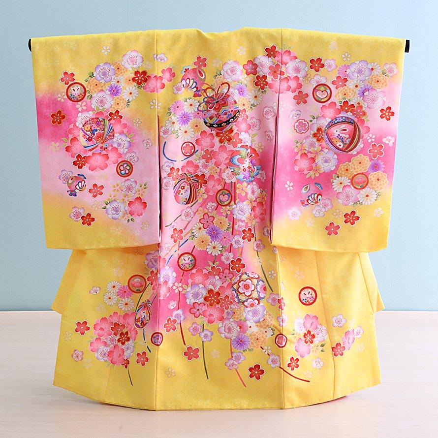 激安格安 お宮参り・初着レンタル 女の子用(O-11)黄色/桜・梅・鞠|産着・のしめ・祝い着