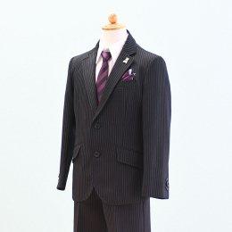 男の子スーツレンタル(FB-2)120/半ズボン 黒/ストライプ WANDER FACTORYワンダーファクトリー