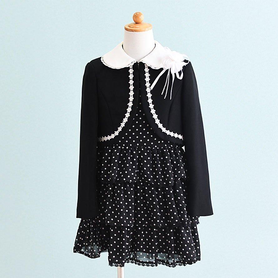 女の子フォーマルスーツレンタル(FG-2)120 黒/水玉 DOCORA PINKY'S