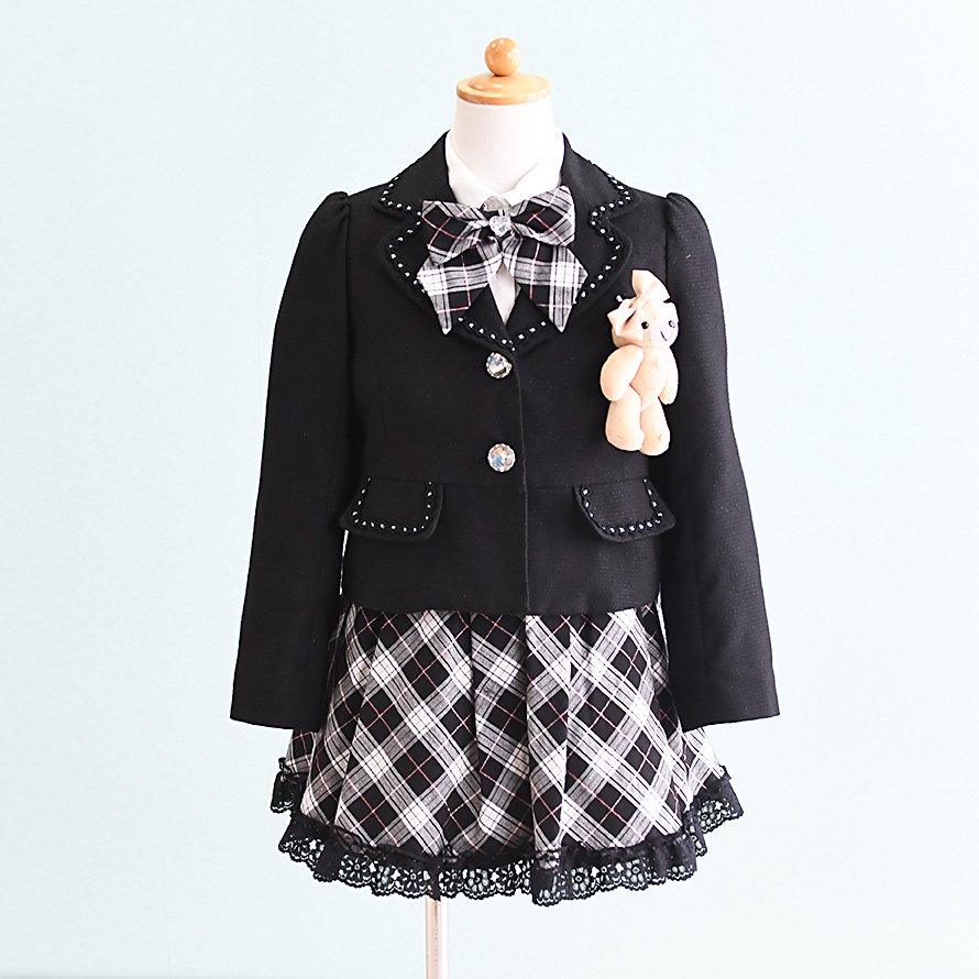 女の子フォーマルスーツレンタル(FG-3)120 黒・白/チェック