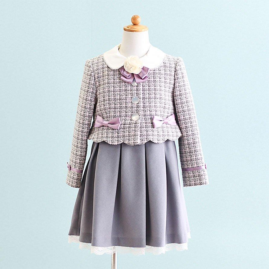 女の子フォーマルスーツレンタル(FG-4)120 グレー・紫
