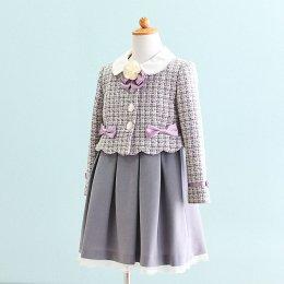 女の子スーツレンタル(FG-4)120 グレー・紫