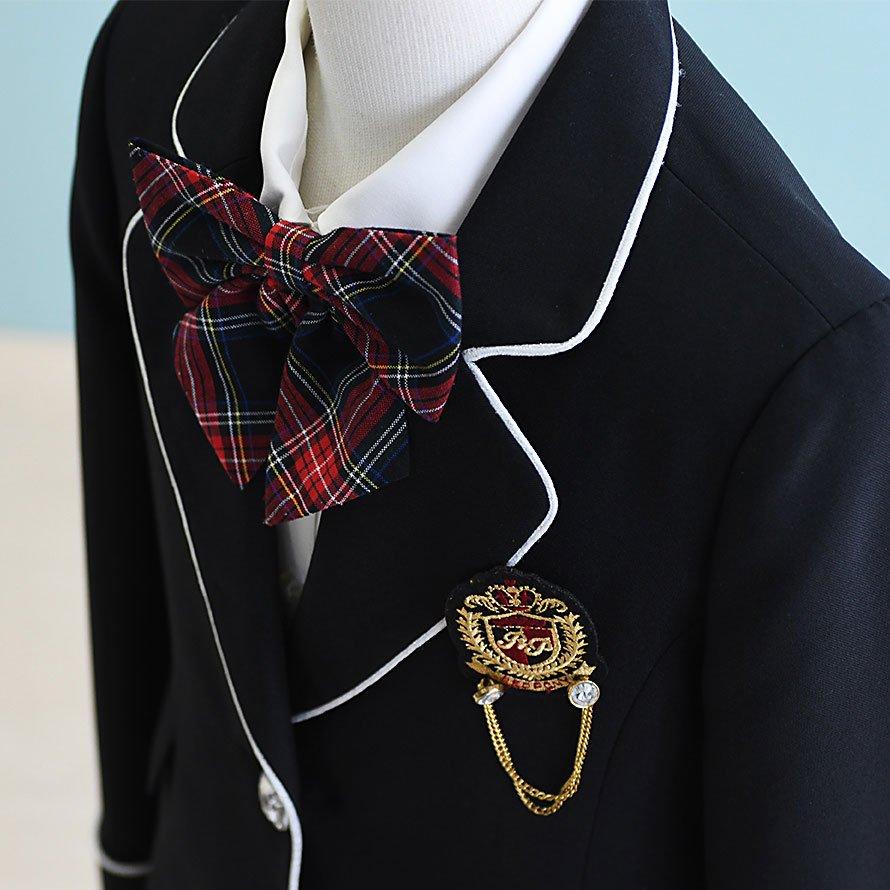 女の子フォーマルスーツレンタル(FG-5)130 黒・赤/チェック