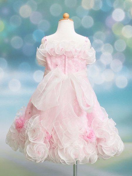 女の子フォーマルドレスレンタル(CS-9)120 ピンク・白