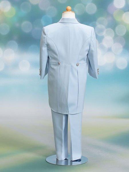 男の子フォーマルタキシードレンタル(P-26)90/2歳 水色/縞