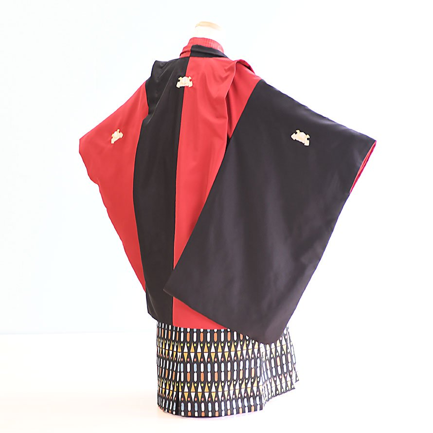 七五三着物五歳羽織袴レンタルセット(5-41)赤×黒 ひさかたろまん みに
