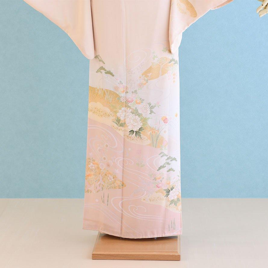 訪問着レンタルセット(HM-2)薄オレンジ/流水・花  正絹