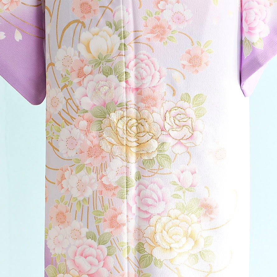 訪問着レンタルセット(HM-11)薄グレー×紫/乱菊・花柄
