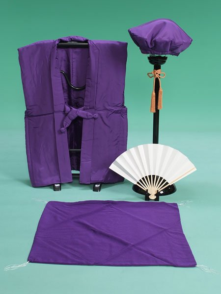 激安格安 長寿(古希・喜寿・傘寿)祝・ちゃんちゃんこレンタルフルセット(cho-purple)紫/無地