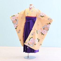 女児袴レンタル(7-20-ha_m)6〜7歳 クリーム/花|紫/刺繍・桜