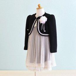 女の子スーツレンタル(FG-8)110 黒・白/水玉 LIZLISA dollリズリサドール