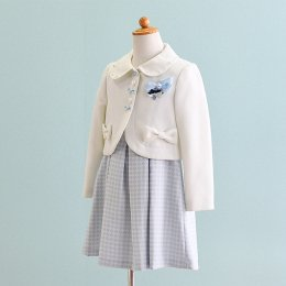 女の子スーツレンタル(FG-11)120 白・水色/幾何学模様