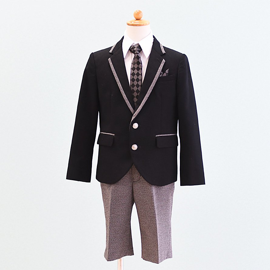 男の子フォーマルスーツレンタル(FB-8)120/半ズボン 黒|グレー MICHIKO LONDONミチコロンドン