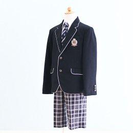 男の子スーツレンタル(FB-10)130/半ズボン 黒|黒/チェック MICHIKO LONDONミチコロンドン