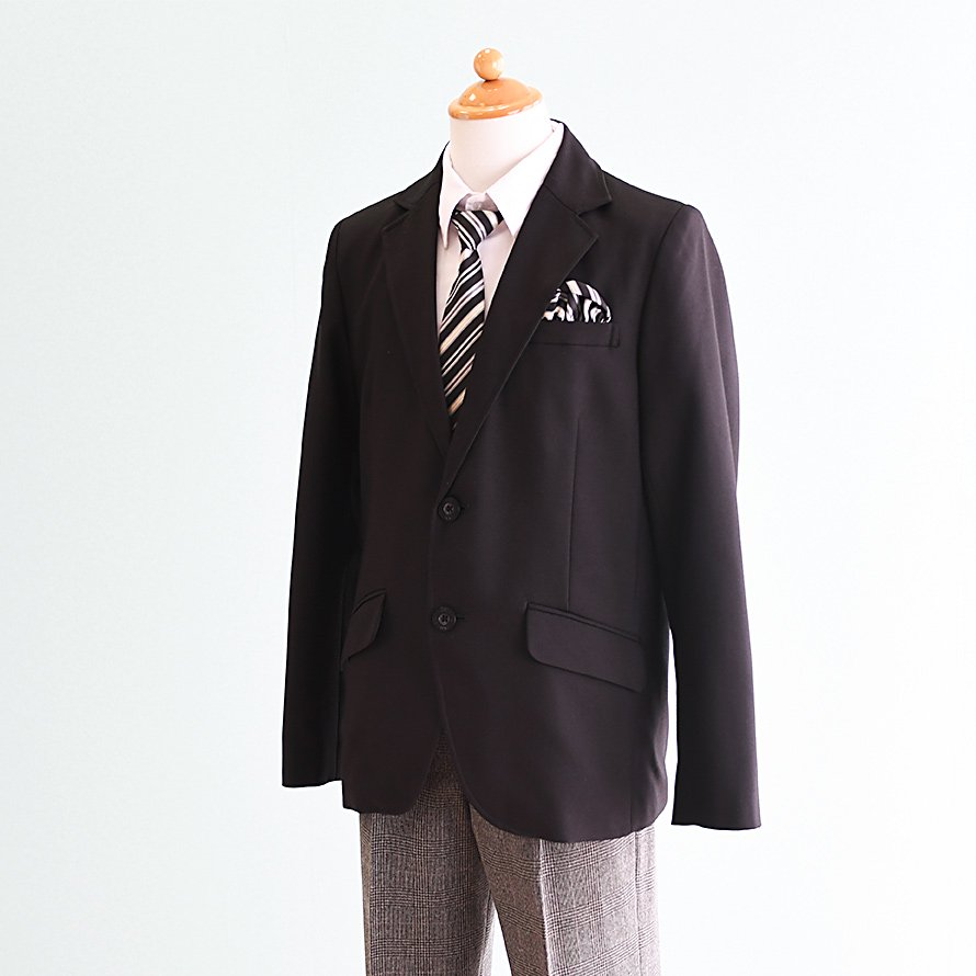 激安格安 男の子フォーマルスーツレンタル(FB-12)150 黒/グレーチェック|卒業式・発表会