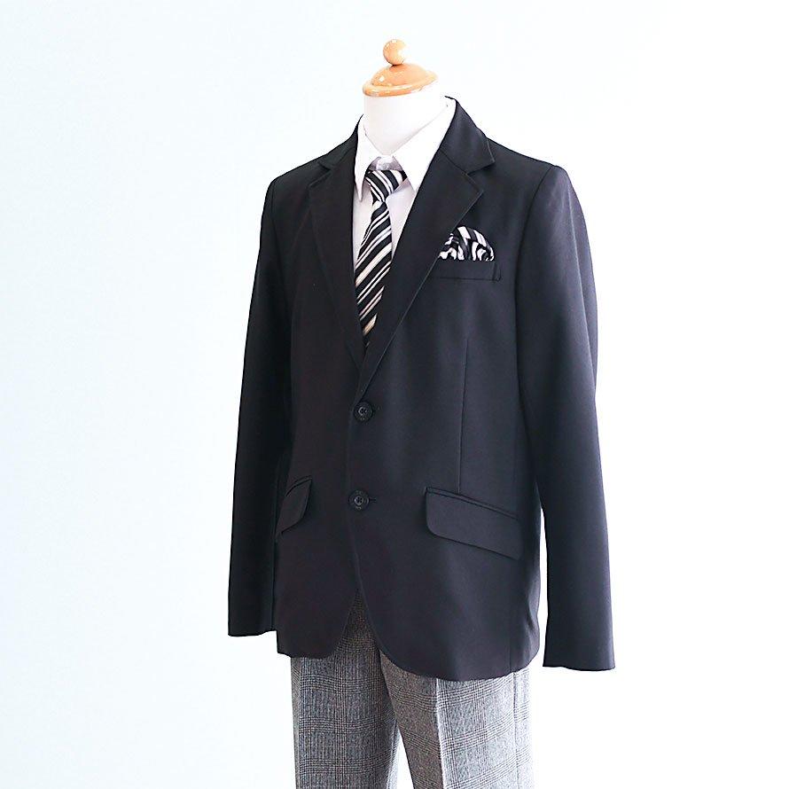 男の子フォーマルスーツレンタル(FB-12)150 黒|グレー/チェック