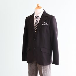 男の子スーツレンタル(FB-12)150 黒|グレー/チェック