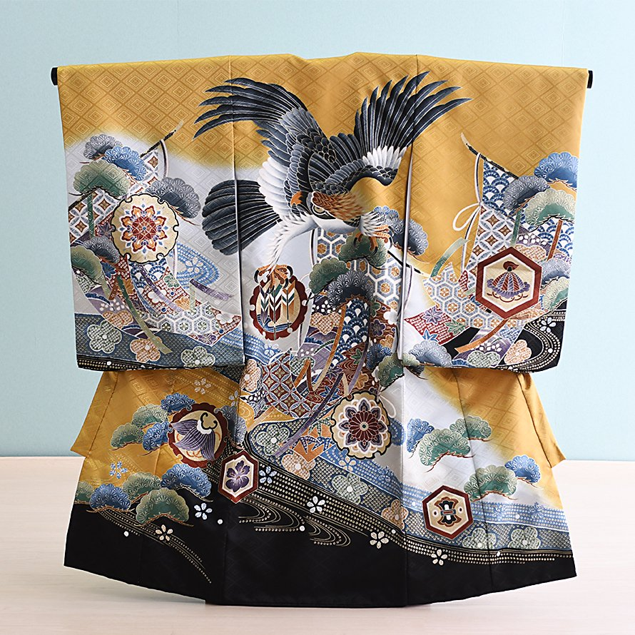 激安格安 お宮参り・初着レンタル 男の子用(OM-12)カラシ/鷹|産着・のしめ・祝い着・着物