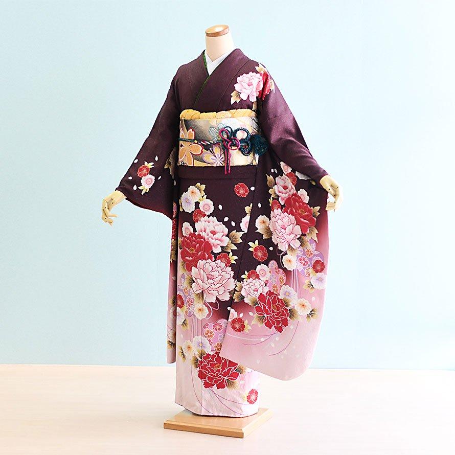 結婚式・結納式振袖レンタルフルセット(24-322)茶/牡丹・花